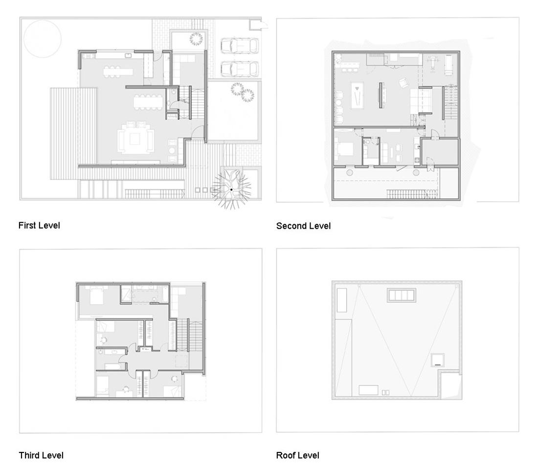 Plans, Unique Concrete House in Israel