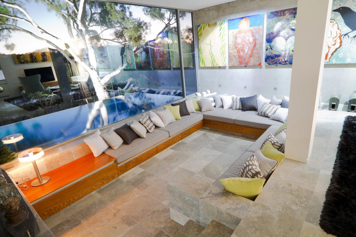 Living Space, Glass Walls, Pool, The 24 House in Dunsborough, Australia
