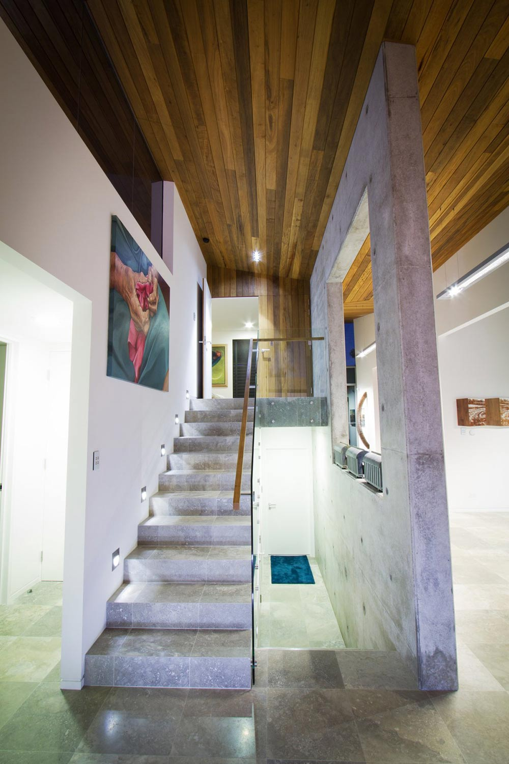 Tiled Stairs, Lighting, The 24 House in Dunsborough, Australia