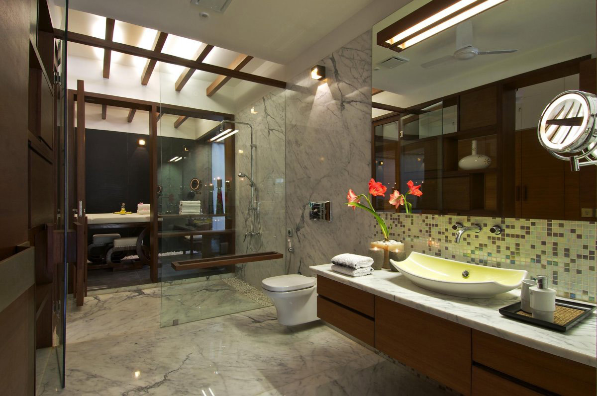Bathroom, Glass Door, Sink, Courtyard House by Hiren Patel Architects