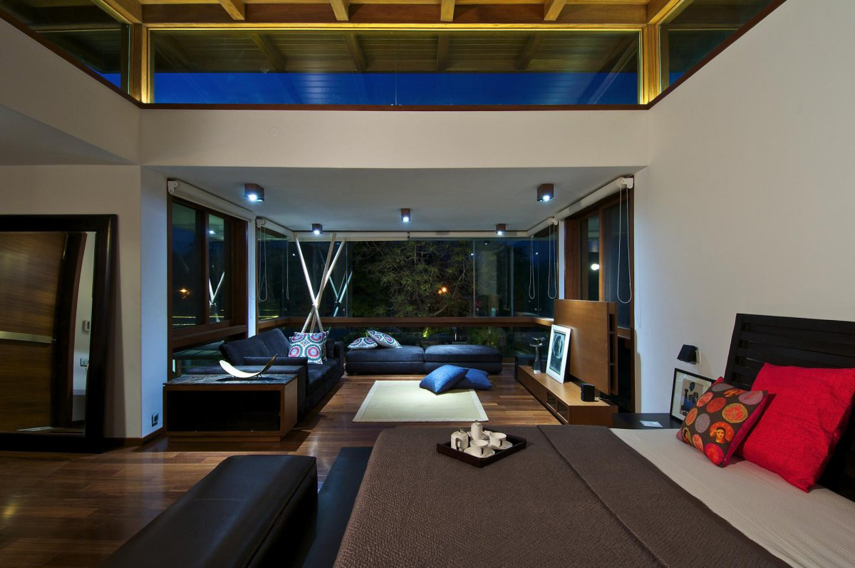 Bedroom, Living Space, Courtyard House by Hiren Patel Architects