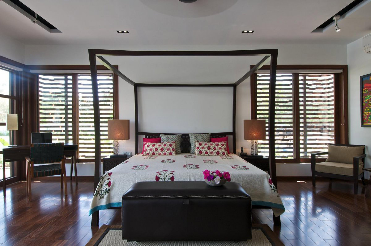 Bedroom, Wood Flooring, Courtyard House by Hiren Patel Architects