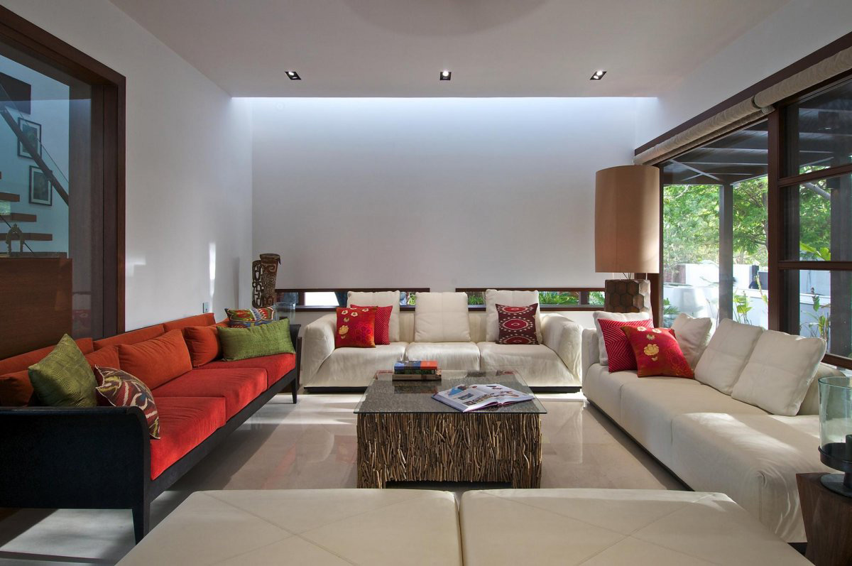 Coffee Table, Sofas, Lighting, Courtyard House by Hiren Patel Architects