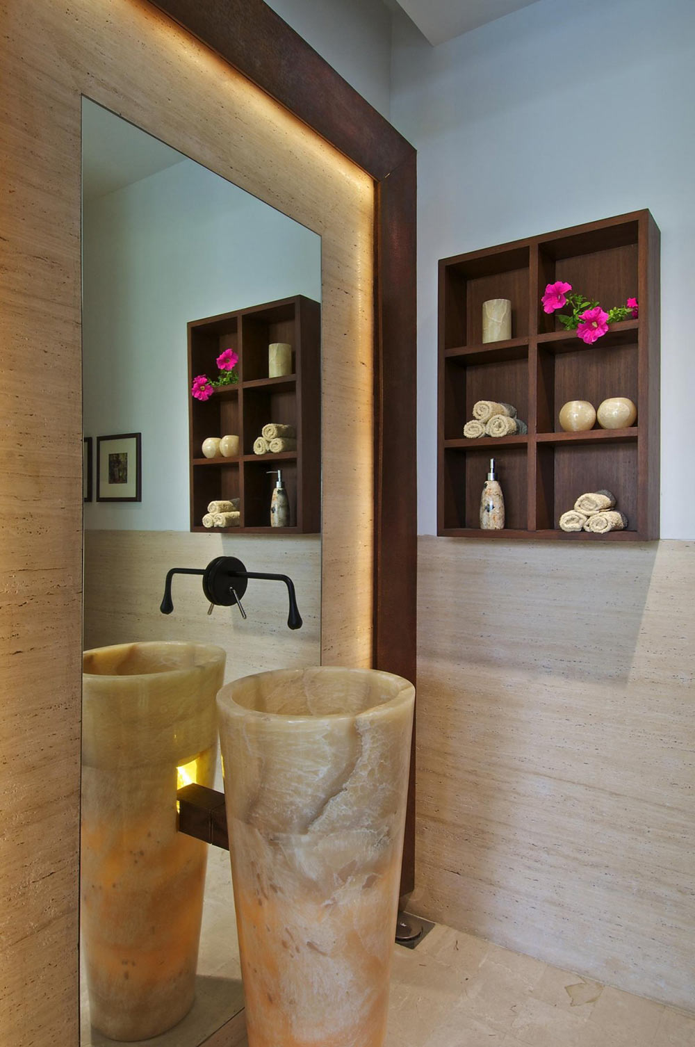 Marble Sink, Bathroom, Courtyard House by Hiren Patel Architects