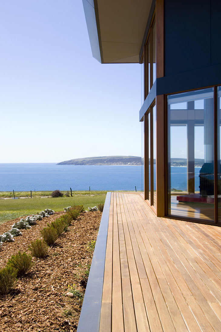 Views, Terrace, Holiday Home with Floating 'Lid' Roof in Emu Bay, Australia