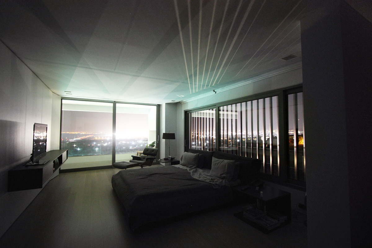 Bedroom, Hilltop Home in Thessaloniki, Greece by Office 25 Architects