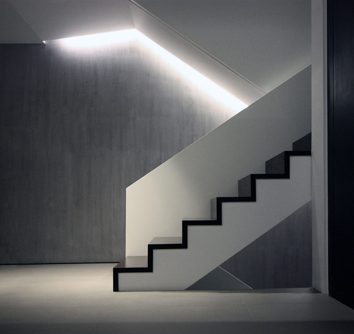 Black & White Stairs, Hilltop Home in Thessaloniki, Greece by Office 25 Architects