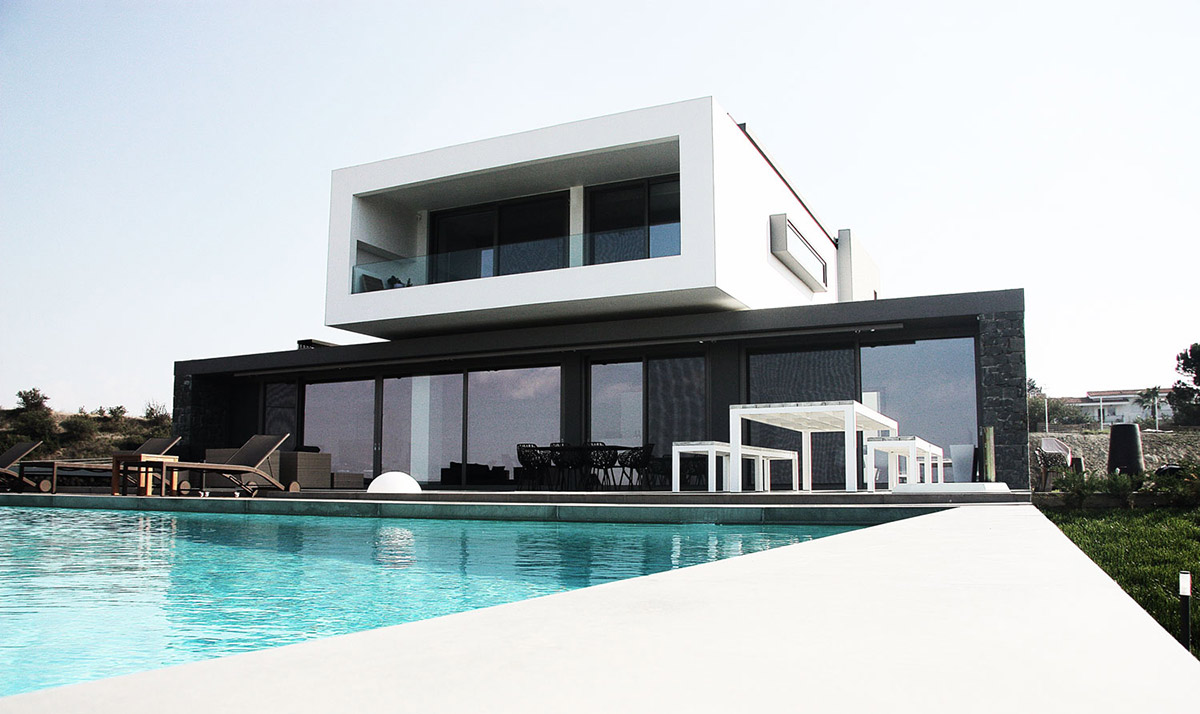 Pool, Terrace, Hilltop Home in Thessaloniki, Greece by Office 25 Architects