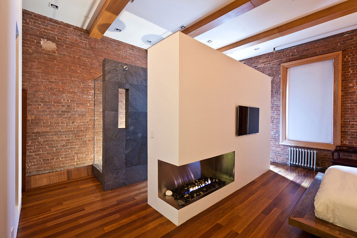 Bedroom, Bathroom, Glass Stone Shower, Loft in NOHO, New York City