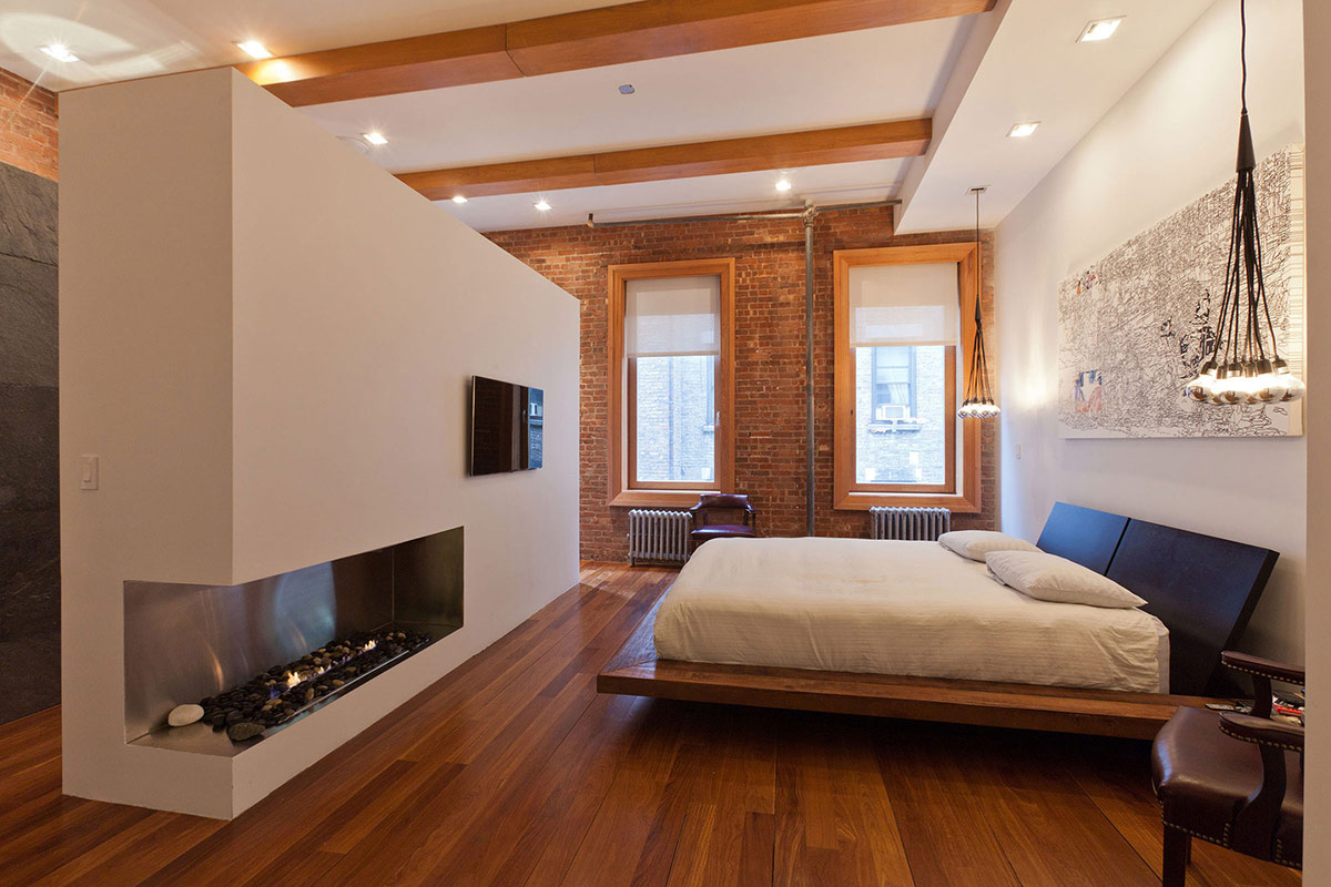 Bedroom, Contemporary Fireplace, Loft in NOHO, New York City
