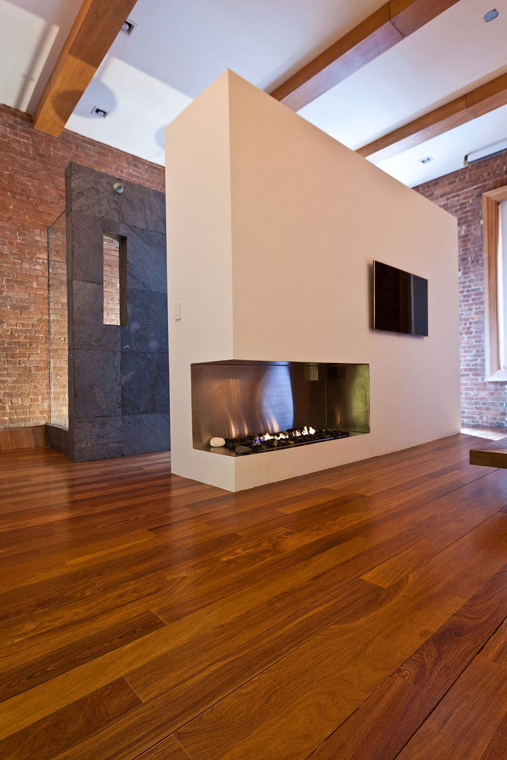 Contemporary Fireplace, Loft in NOHO, New York City
