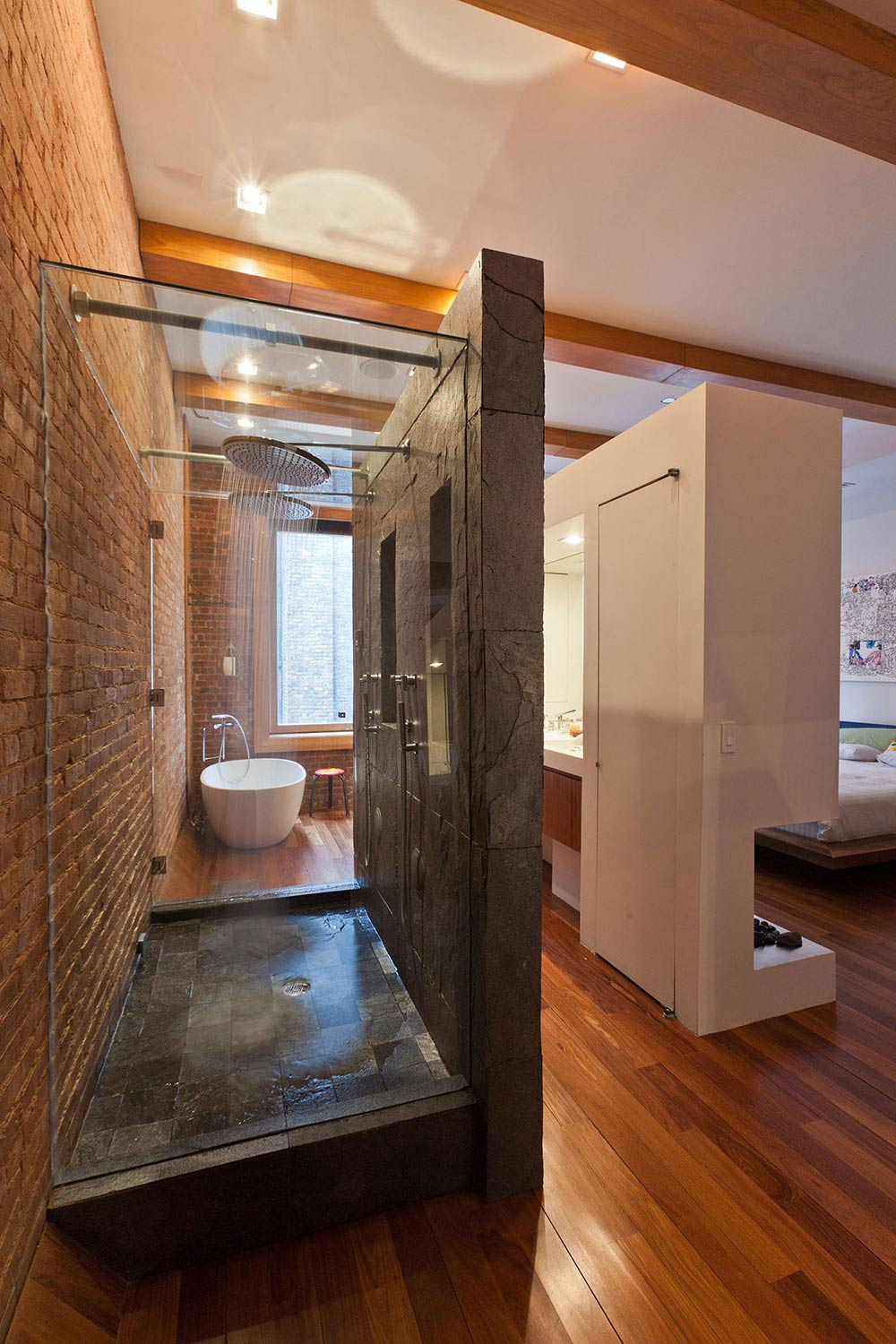 Glass & Stone Shower, Loft in NOHO, New York City