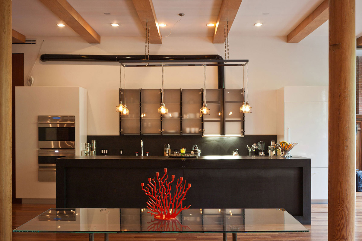 Kitchen, Dark Island, Loft in NOHO, New York City