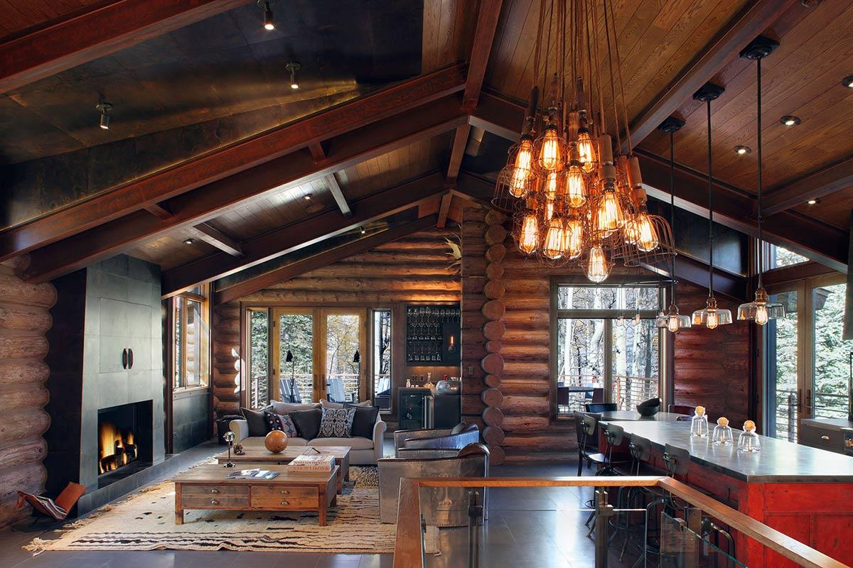 Living Space, Lighting, Breakfast Table, Modern Log Cabin in Telluride Colorado