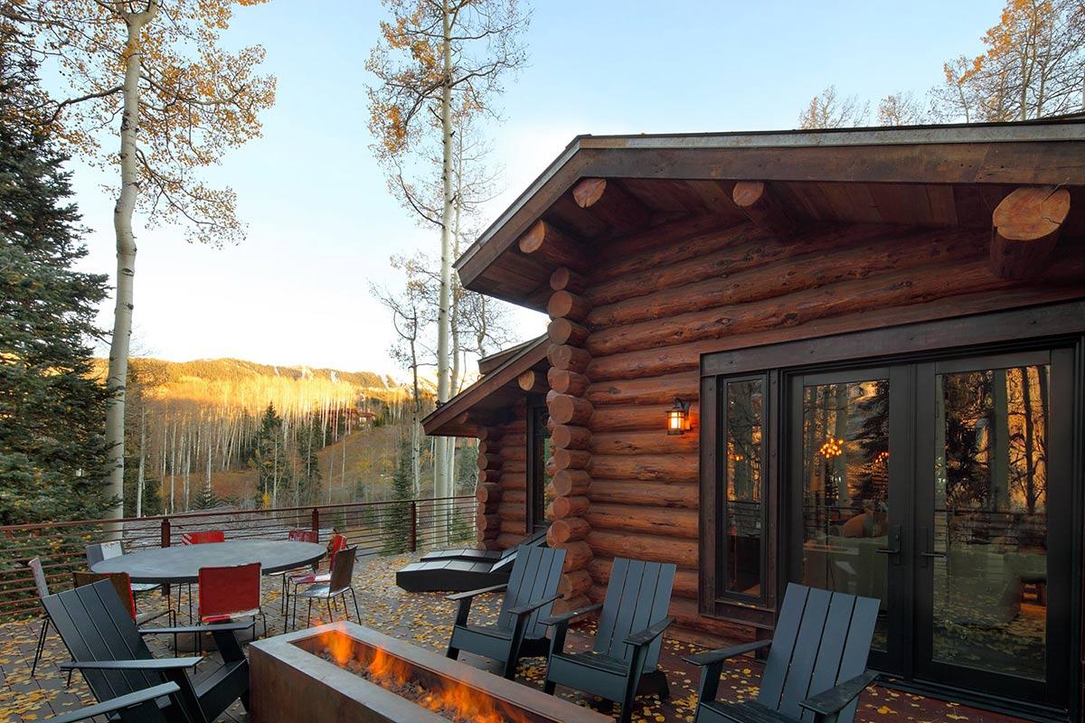 Outdoor Contemporary Fireplace, Modern Log Cabin in Telluride Colorado