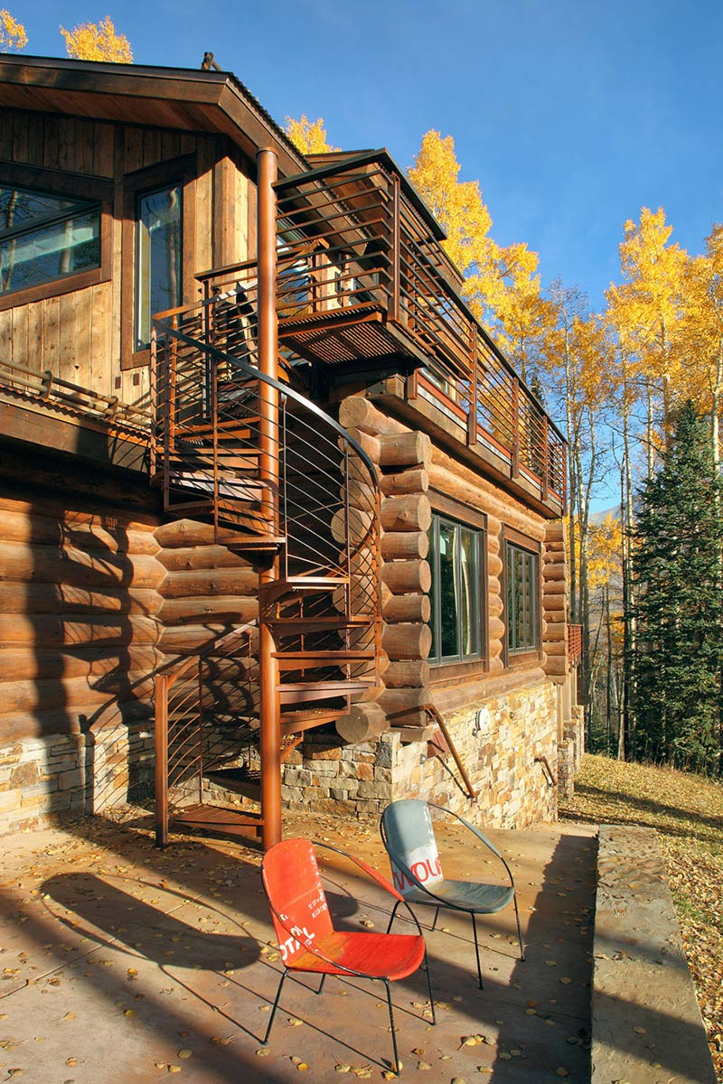 Outdoor Spiral Stairs, Modern Log Cabin in Telluride Colorado