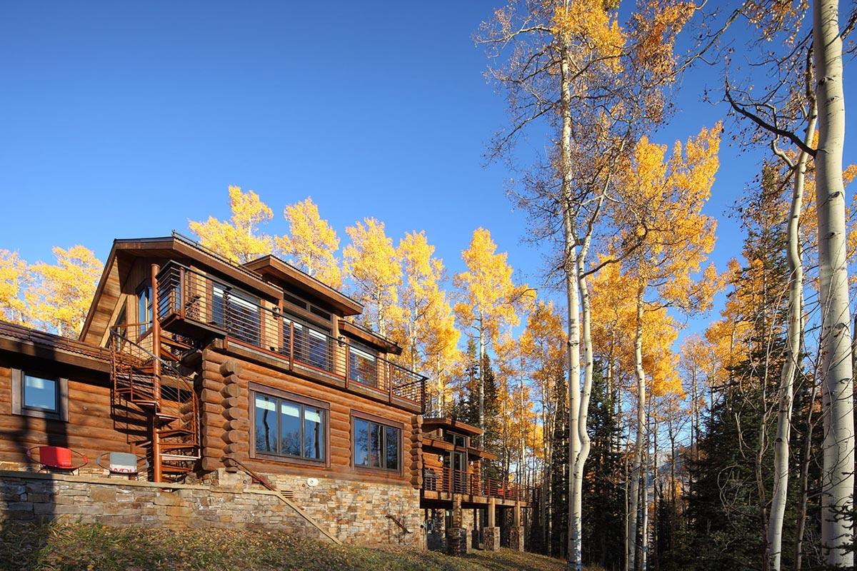 Spiral Stairs, Deck, Modern Log Cabin in Telluride Colorado