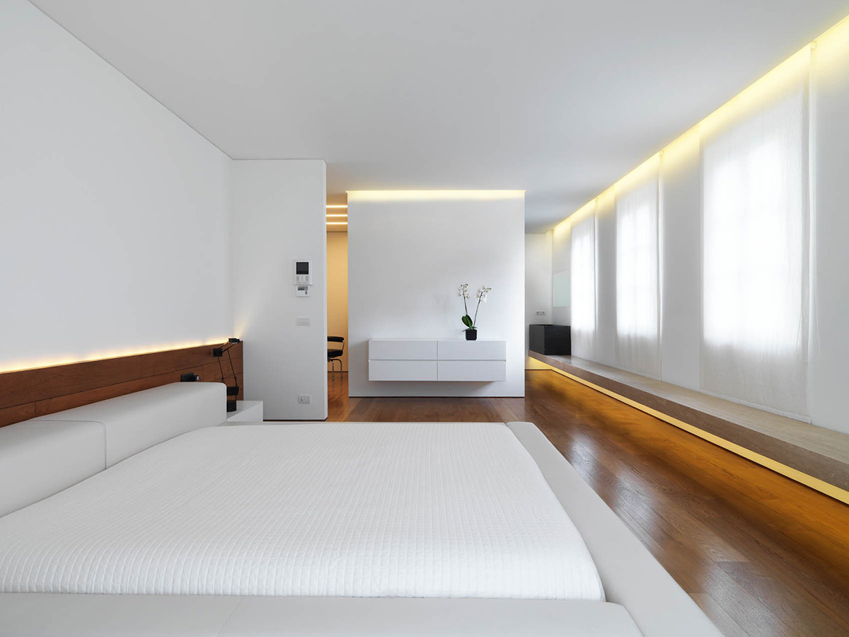 bedroom lighting minimalist interior in tuscany italy