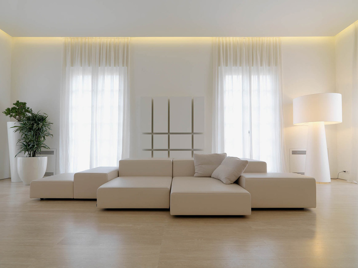 White leather sofa minimalist interior in tuscany italy for Minimalist sofa