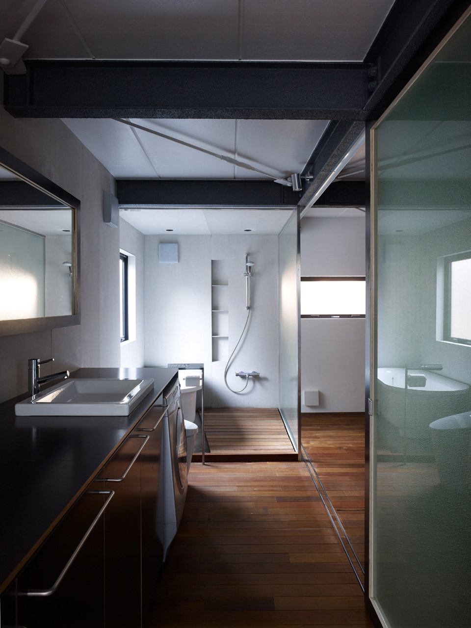 Bathroom, Shower, Wood Floor, Compact Modern Home in the Heart of Tokyo