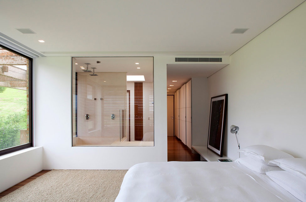 Bedroom, Bathroom, Glass Wall, MP Quinta da Baronesa in São Paulo, Brazil
