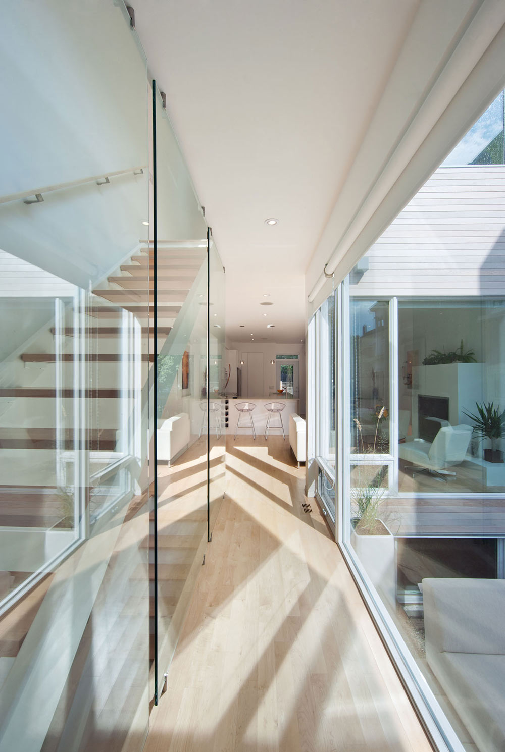 Glass Wall, Stairs, Hintonburg Home in Ottawa, Canada