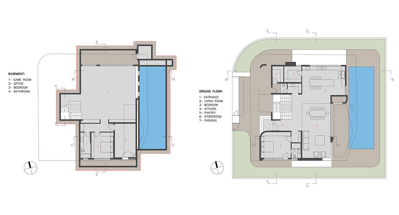 Basement, Ground Floor Plan, Intriguing Contemporary Villa in Ashdod, Israel