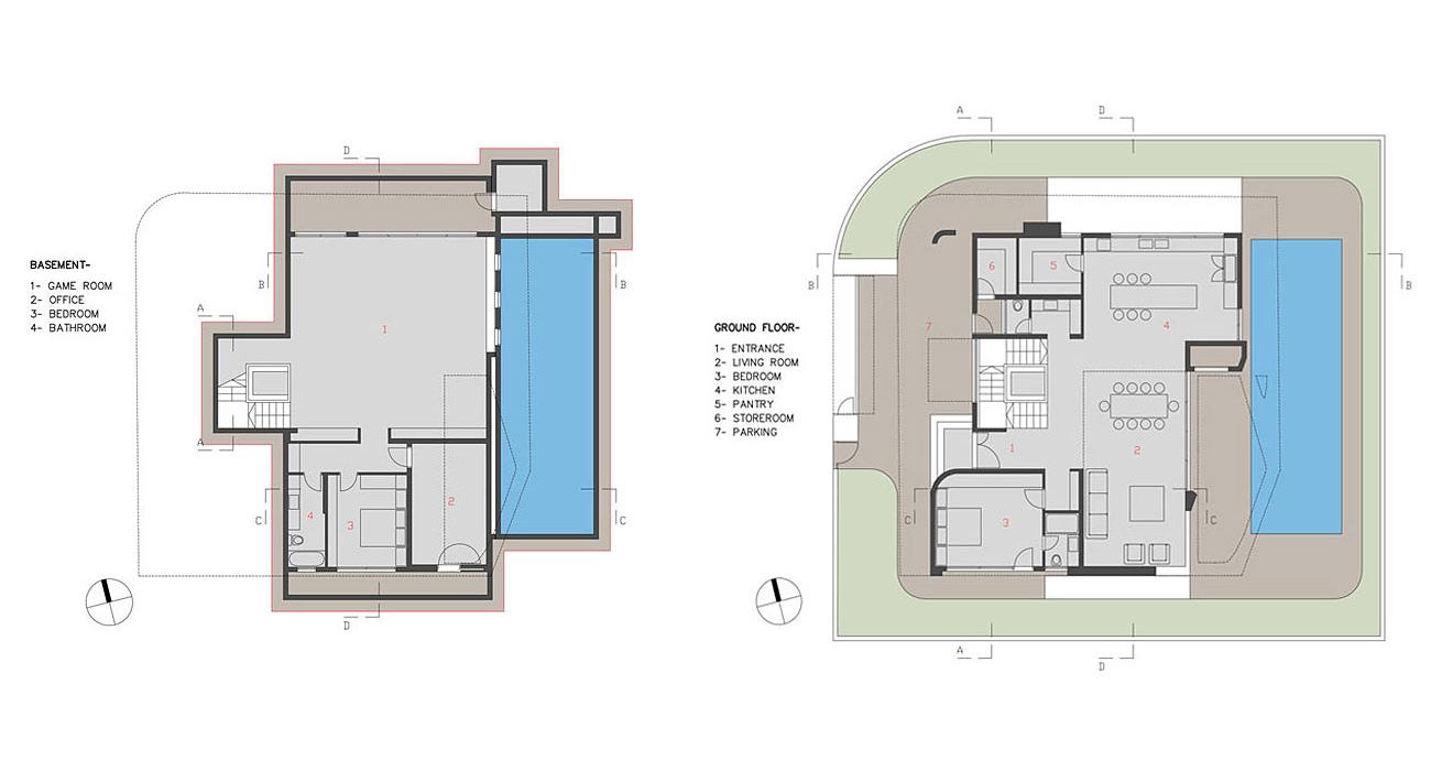 Basement, Ground Floor Plan, Intriguing Contemporary Villa in Ashdod, Israel