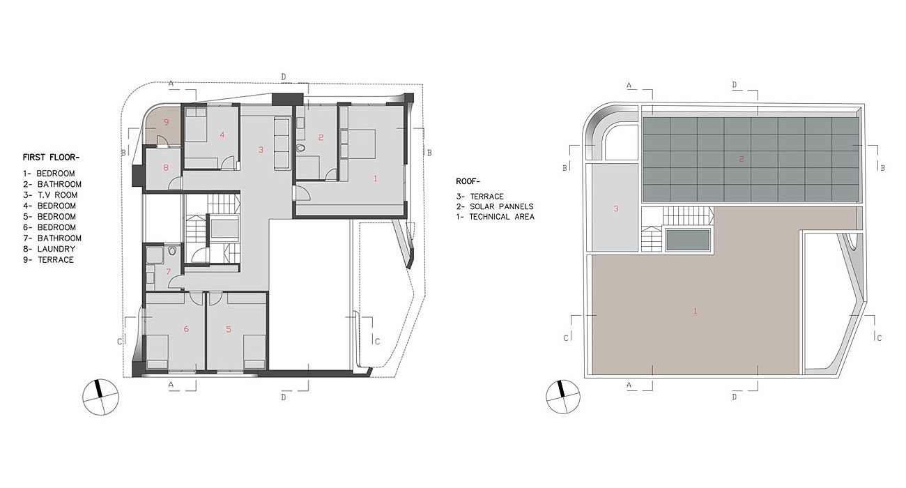 First Floor, Roof Plan, Intriguing Contemporary Villa in Ashdod, Israel