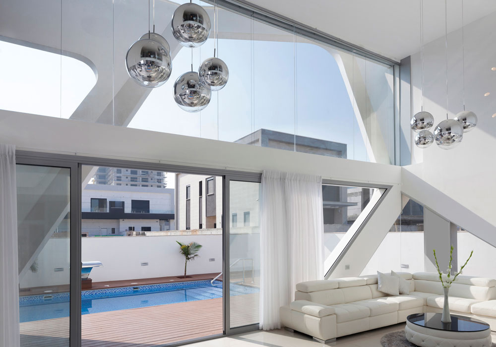 Glass Walls, Balck & White Coffee Table, Intriguing Contemporary Villa in Ashdod, Israel