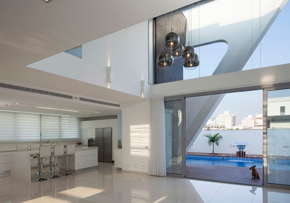 Patio Doors, Terrace, Pool, Intriguing Contemporary Villa in Ashdod, Israel