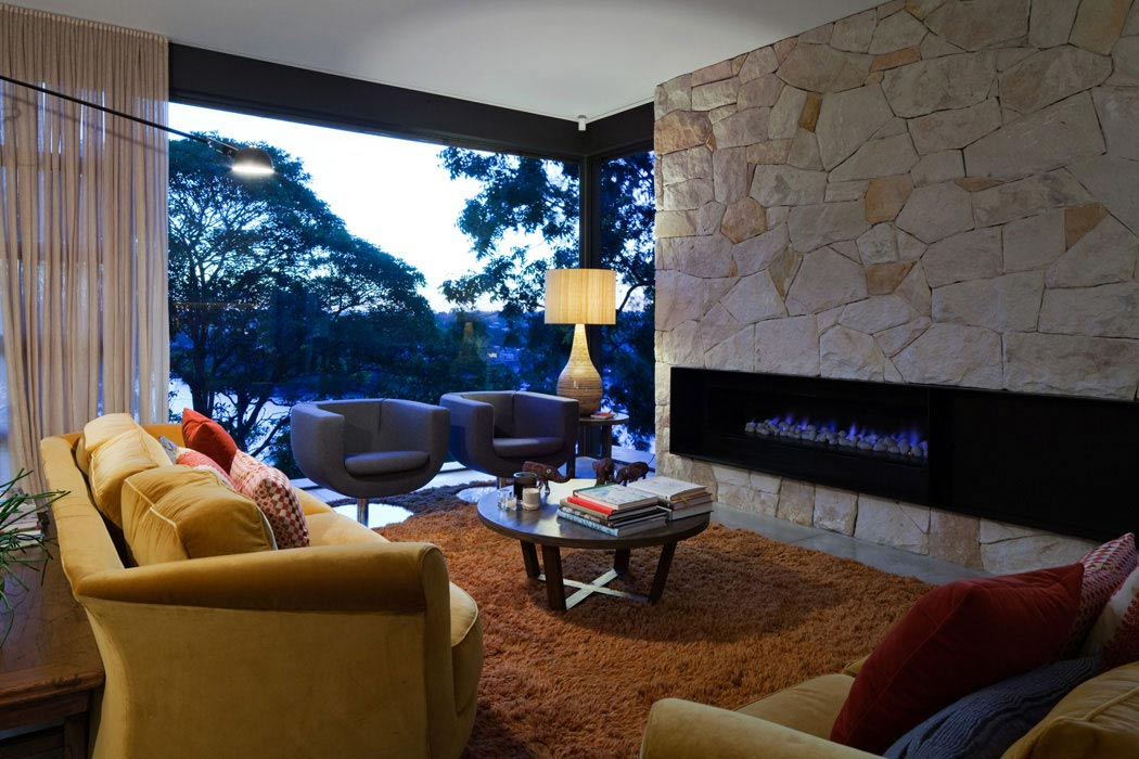 Contemporary Fireplace, Living Room, River House in Sydney, Australia