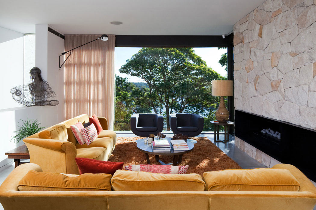 Contemporary Living Space, River House in Sydney, Australia