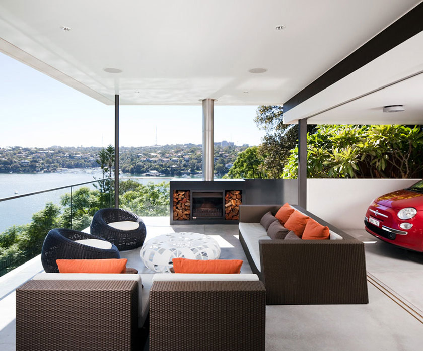Outdoor Fireplace, River View, River House in Sydney, Australia