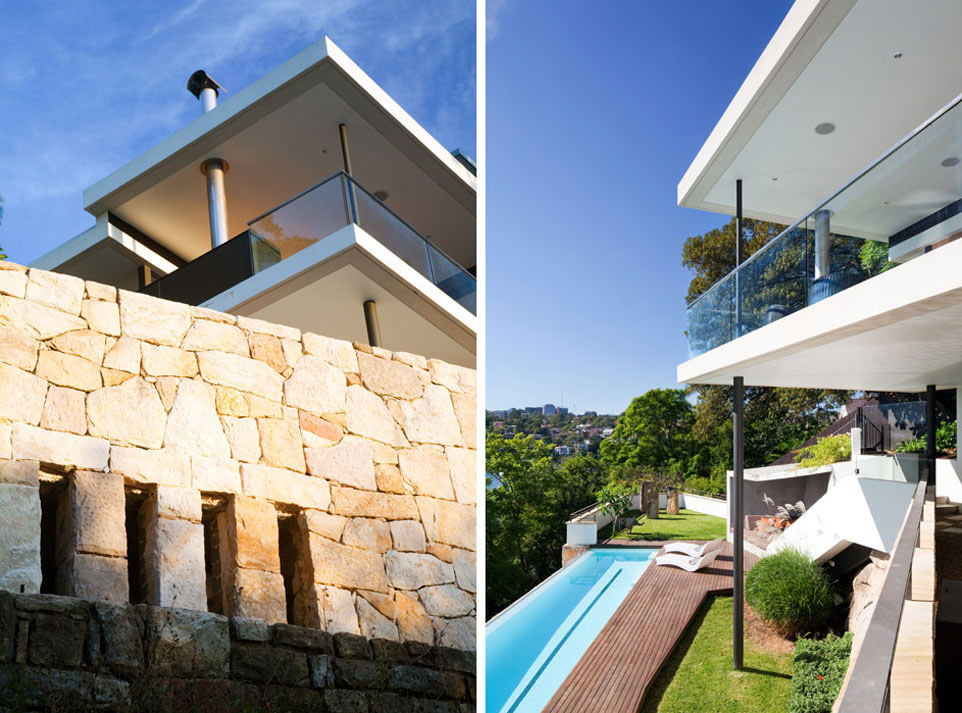 Stone Wall, Deck, Pool, River House in Sydney, Australia