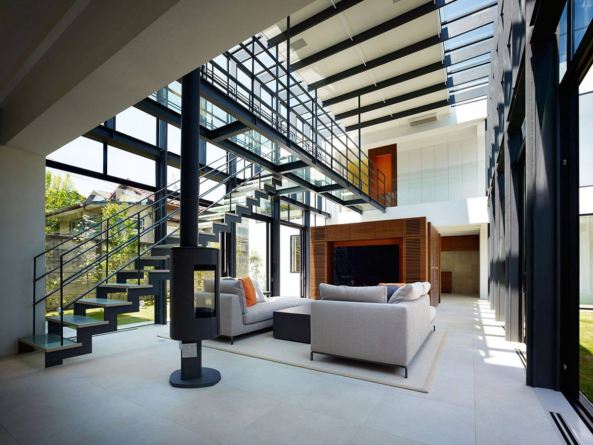 Contemporary Fireplace, Living Space, Bright Contemporary Home in Tokyo, Japan
