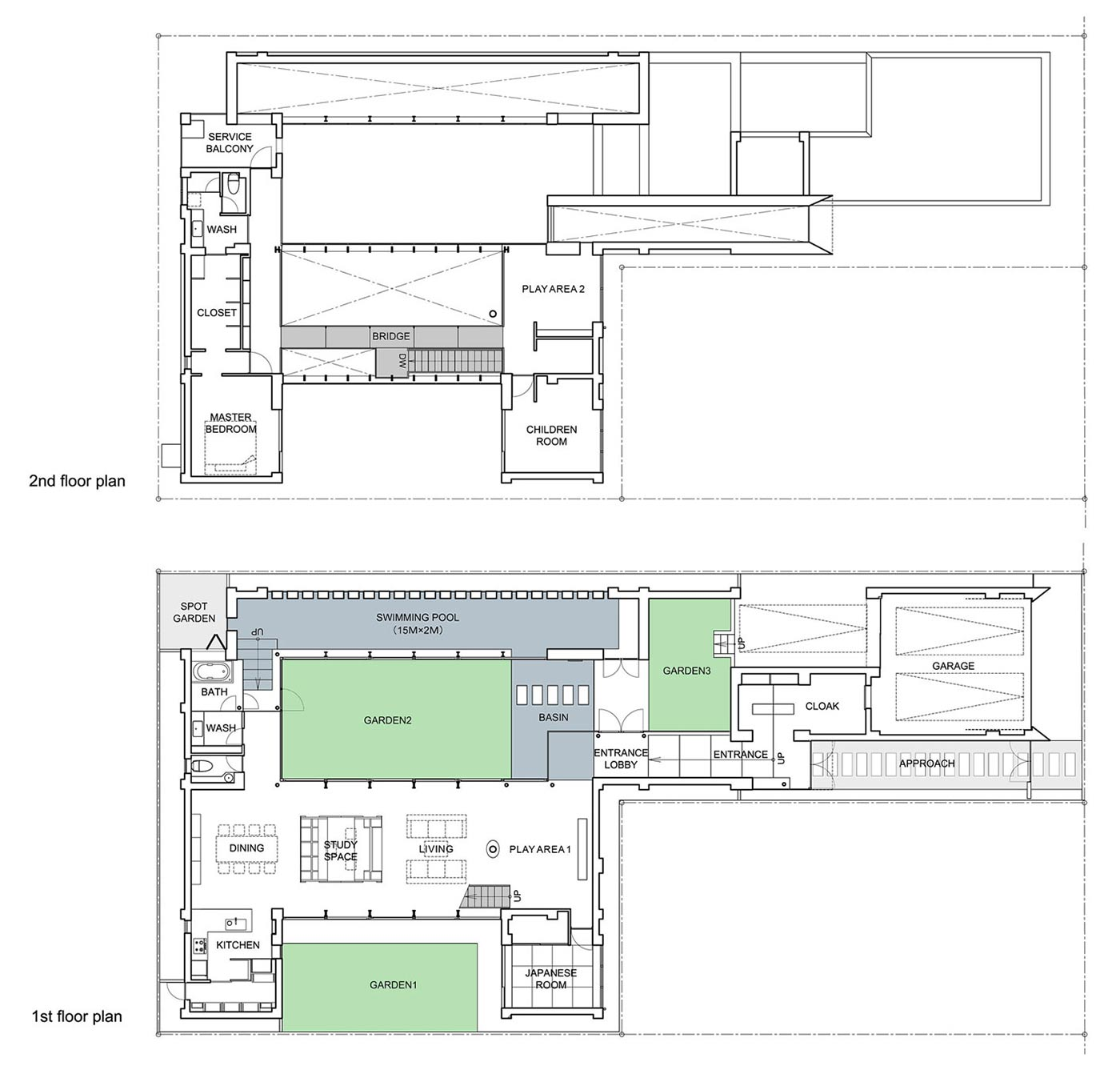 First & Second Floor Plan, Bright Contemporary Home in Tokyo, Japan