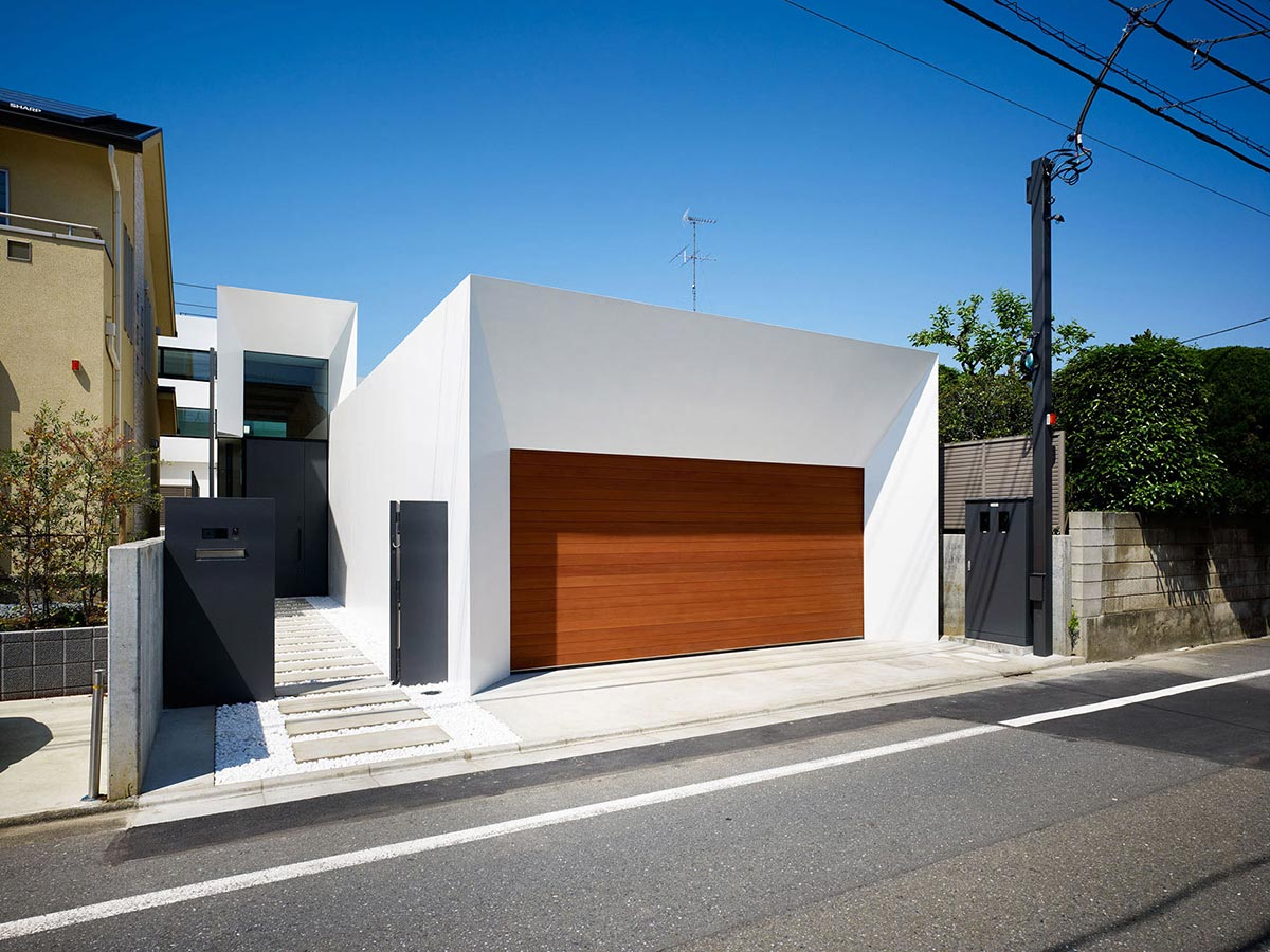 Garage, Entrance, Bright Contemporary Home in Tokyo, Japan