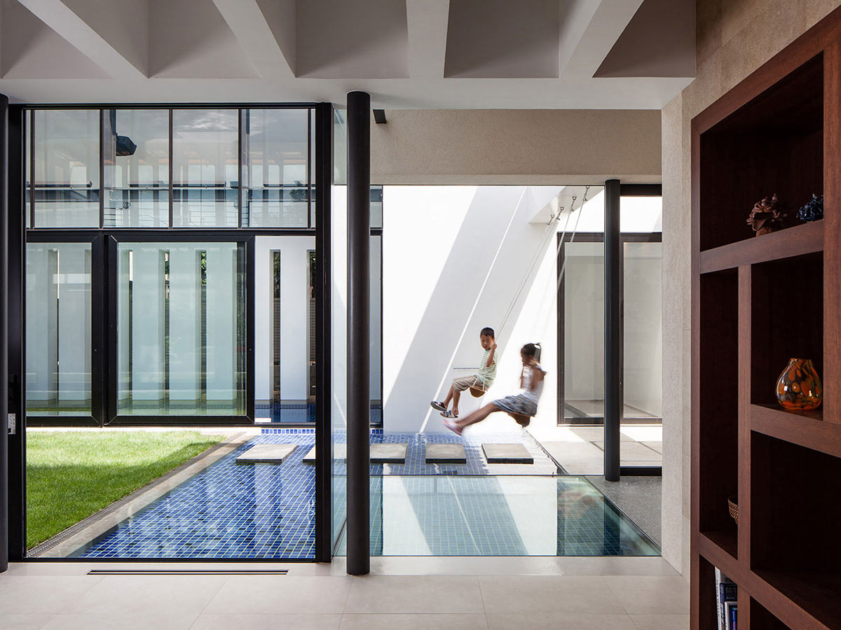 Swings, Water Feature, Bright Contemporary Home in Tokyo, Japan