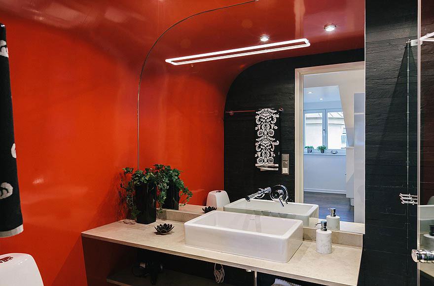 Black & Orange Bathroom, Stylish Modern Apartment Stockholm