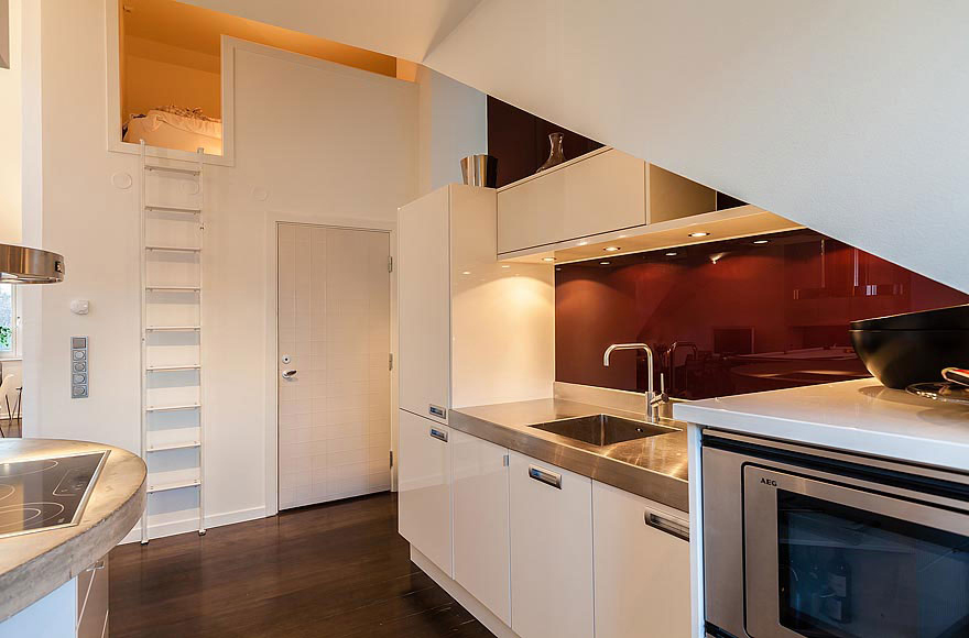 Compact Kitchen, Stylish Modern Apartment Stockholm