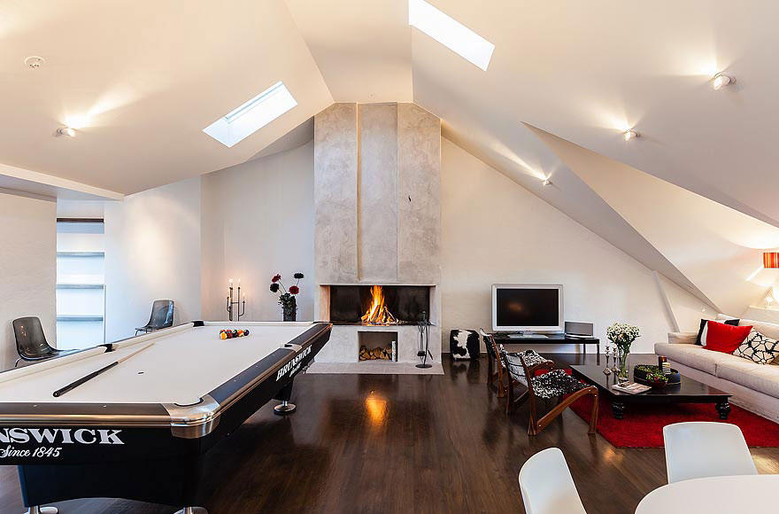 Contemporary Fireplace, Stylish Modern Apartment Stockholm