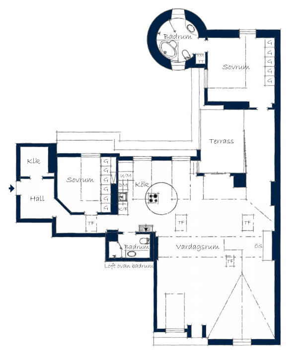 Floor Plan, Stylish Modern Apartment Stockholm