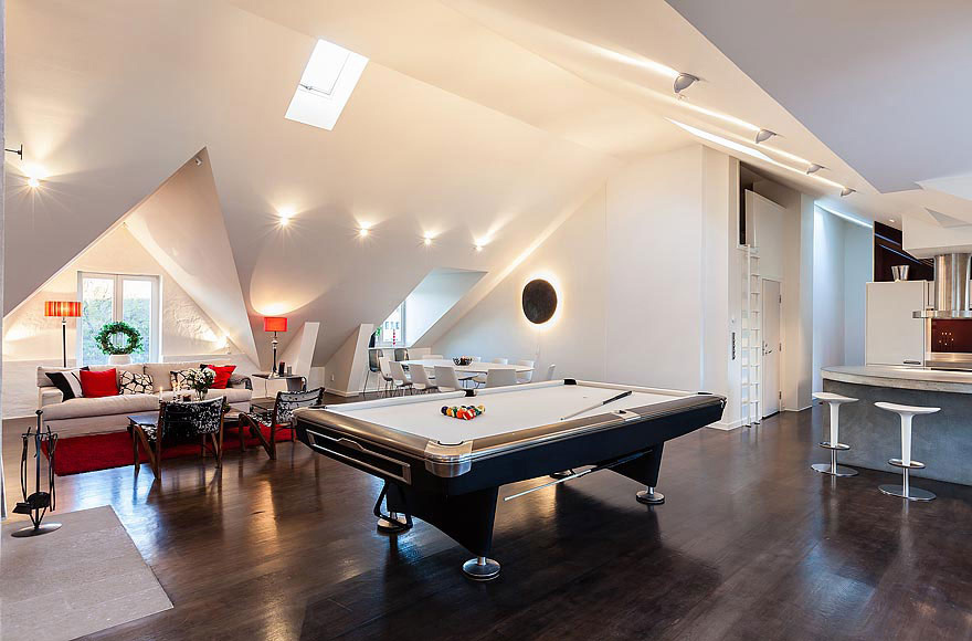 White Pool Table, Stylish Modern Apartment Stockholm