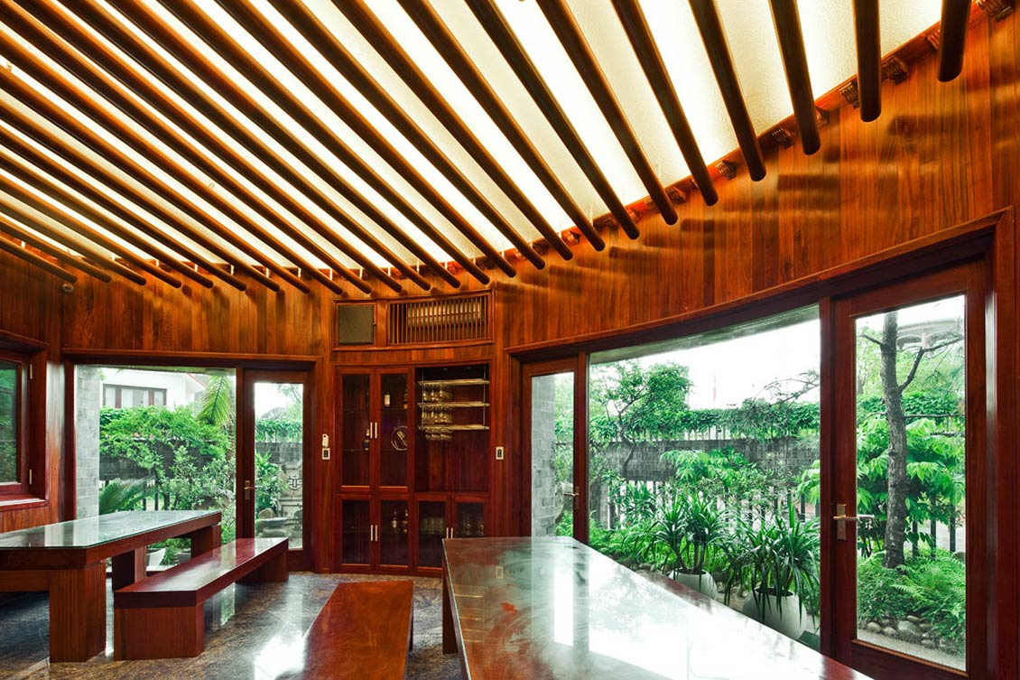 Living Space, Wood Beams, Stone House in Dong Trieu, Vietnam