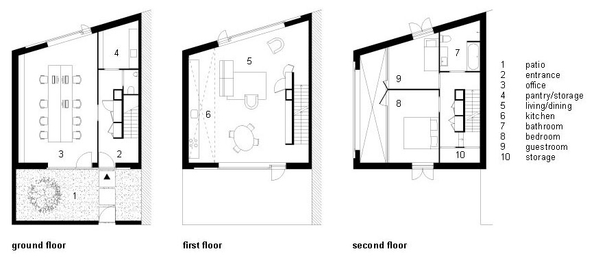 Floor Plans, Stripe House Leiden, The Netherlands