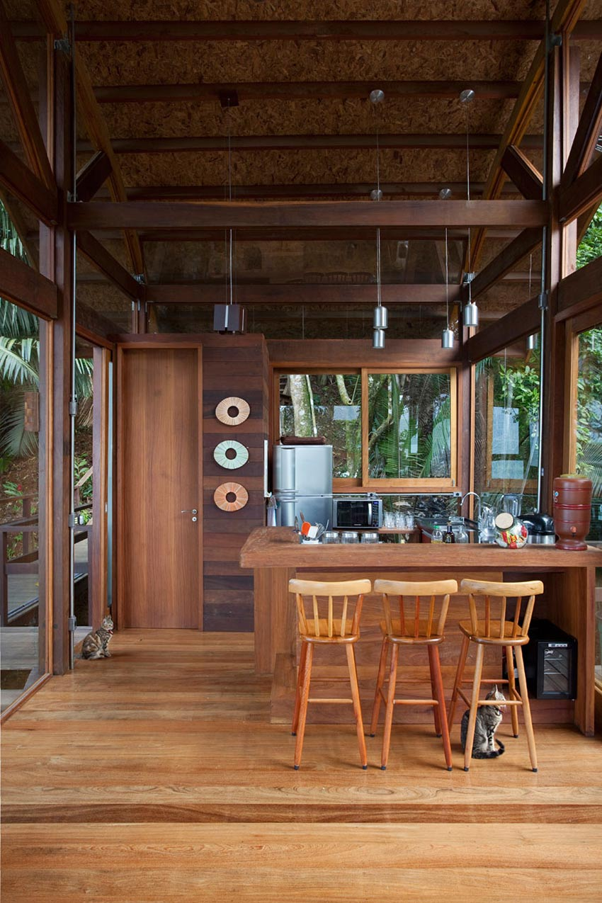 Kitchen, Breakfast Table, Outstanding Sustainable Home in Praia do Felix, Brazil