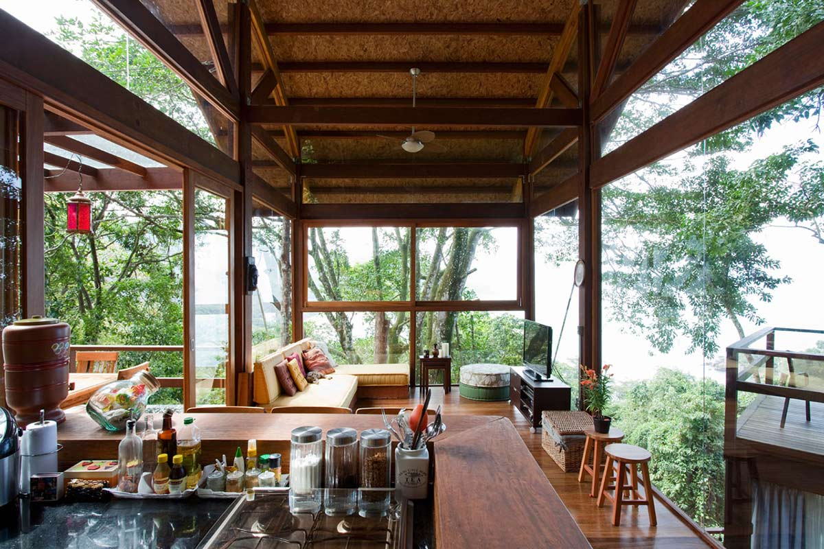 Kitchen, Living Space, Outstanding Sustainable Home in Praia do Felix, Brazil