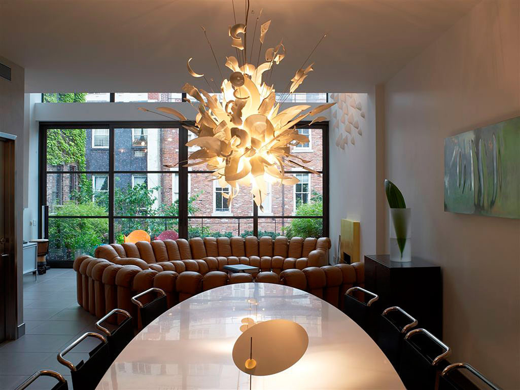 Dining Table, Lighting, Townhouse Renovation in Gramercy Park, New York