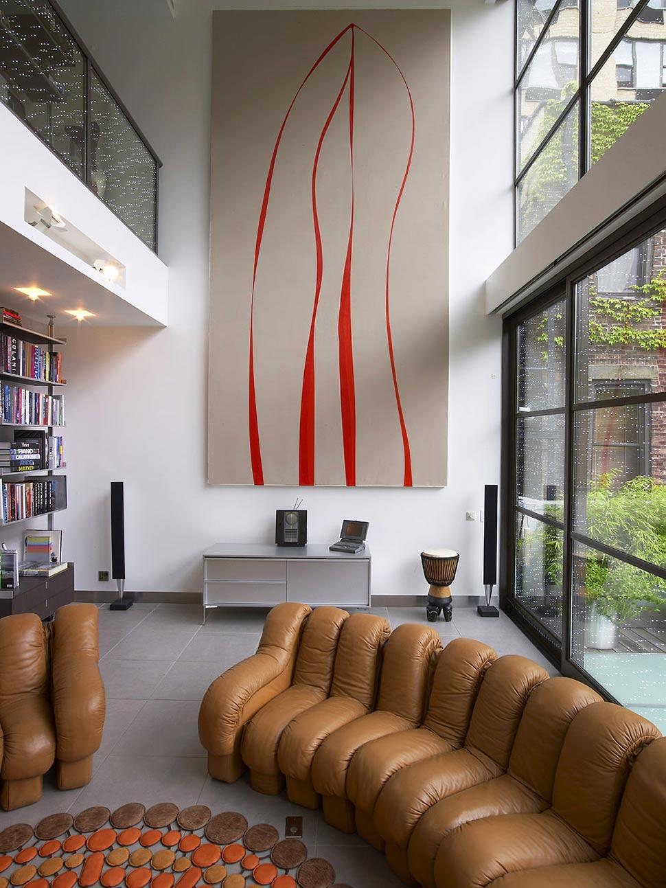 Glass Walls, Art, Bookshelf, Townhouse Renovation in Gramercy Park, New York
